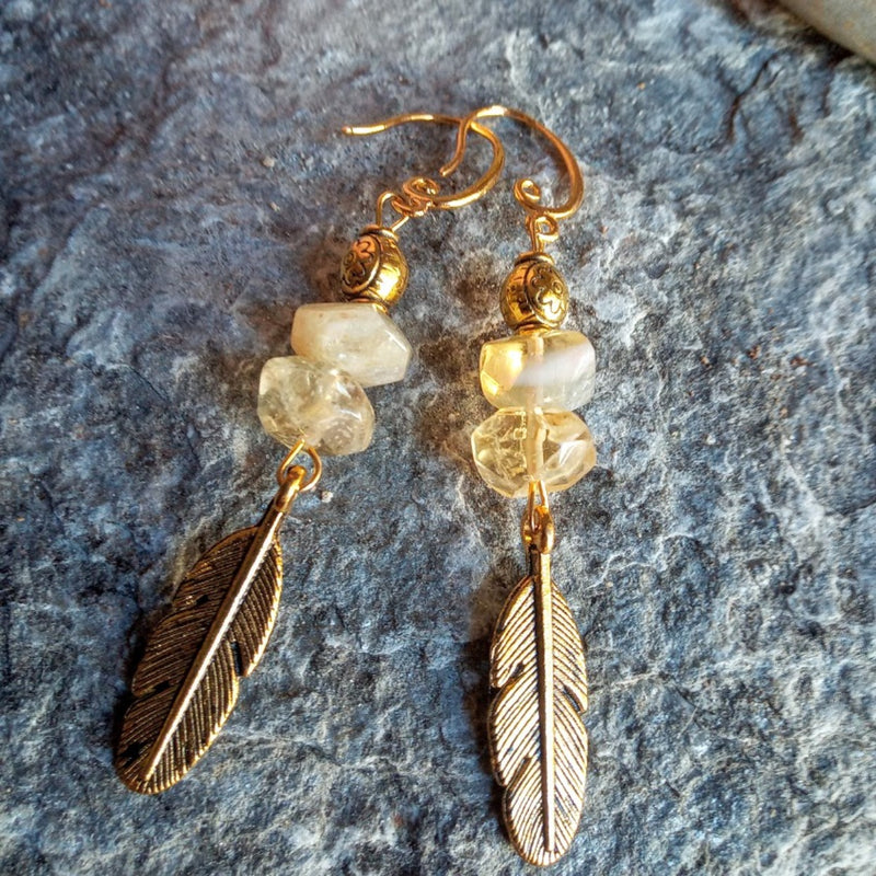 Feather of Gold - Citrine Gold feather Earrings💛