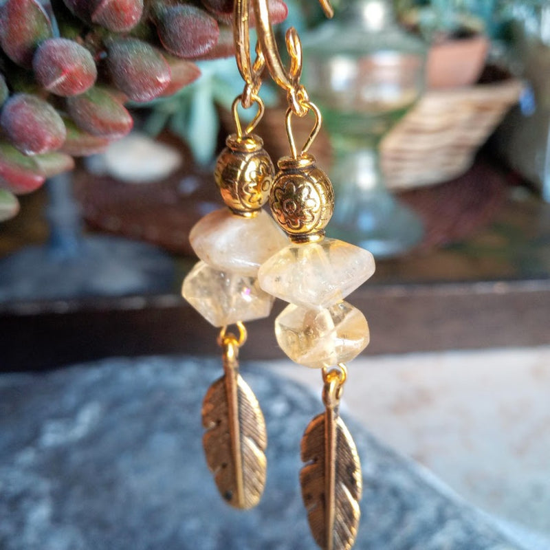 citrine gold feather earrings