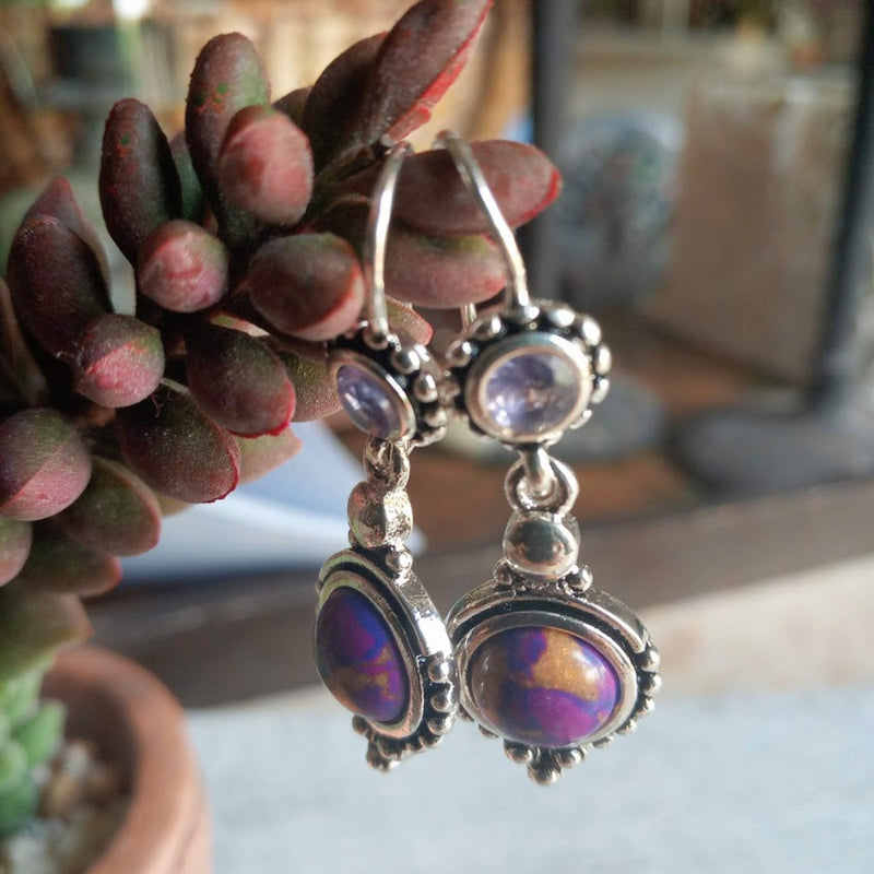 Purple Copper Turquoise 925 Silver Earrings