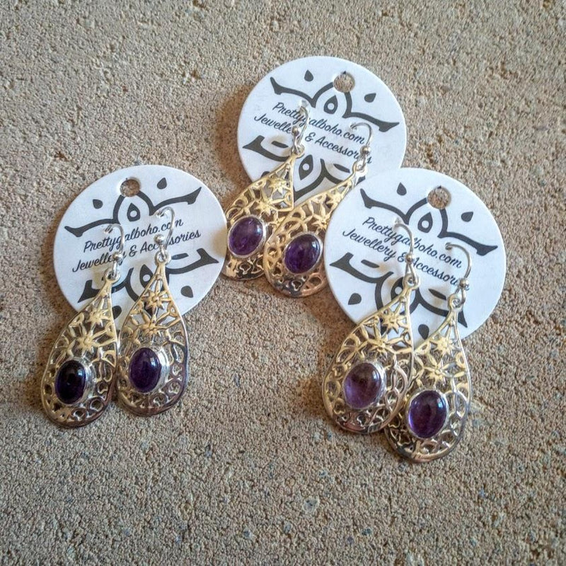 Boho Amethyst 925 Silver Hook Earrings