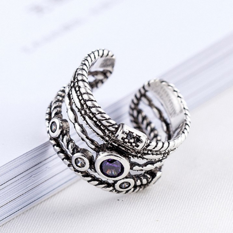 Peace and Harmony Adjustable Gypsy  Silver Ring💜