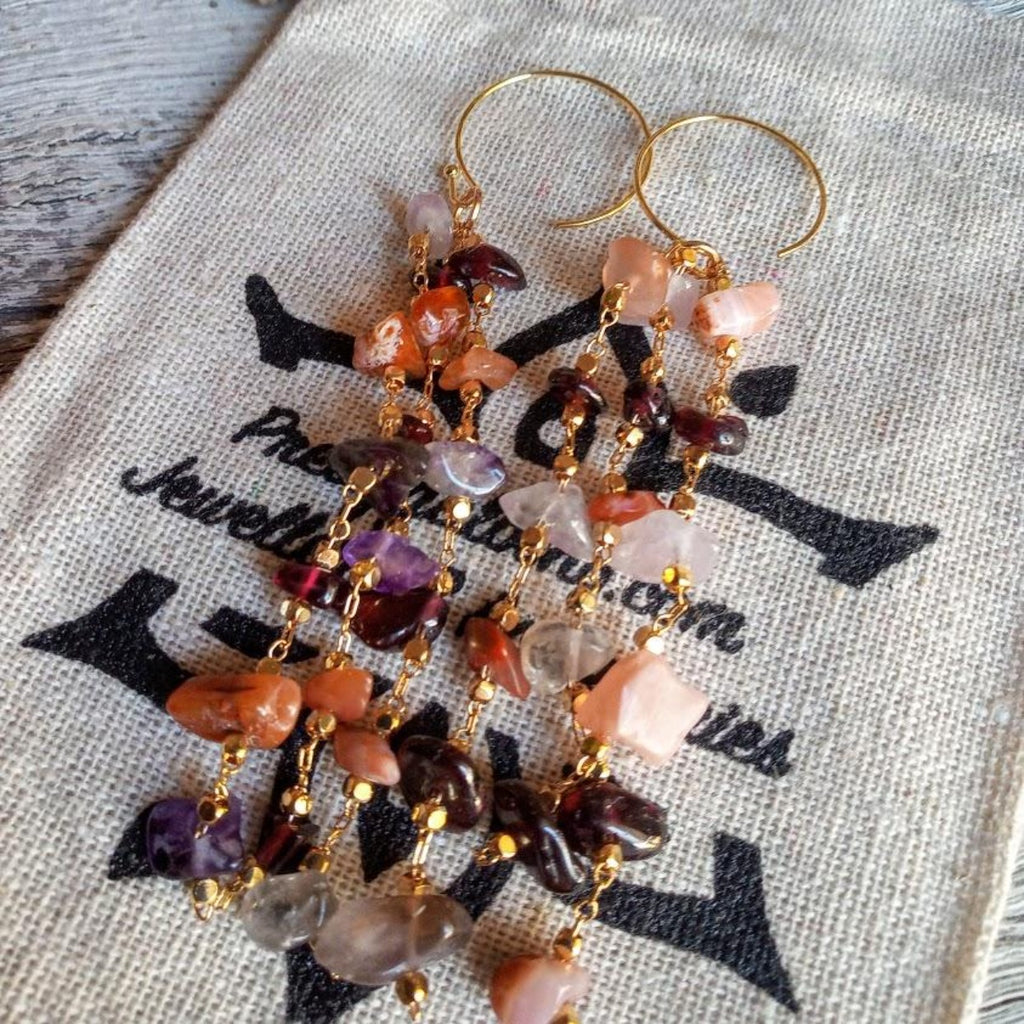 garnet and sunstone earrings
