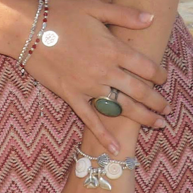 Aventurine Adjustable Brass Ring