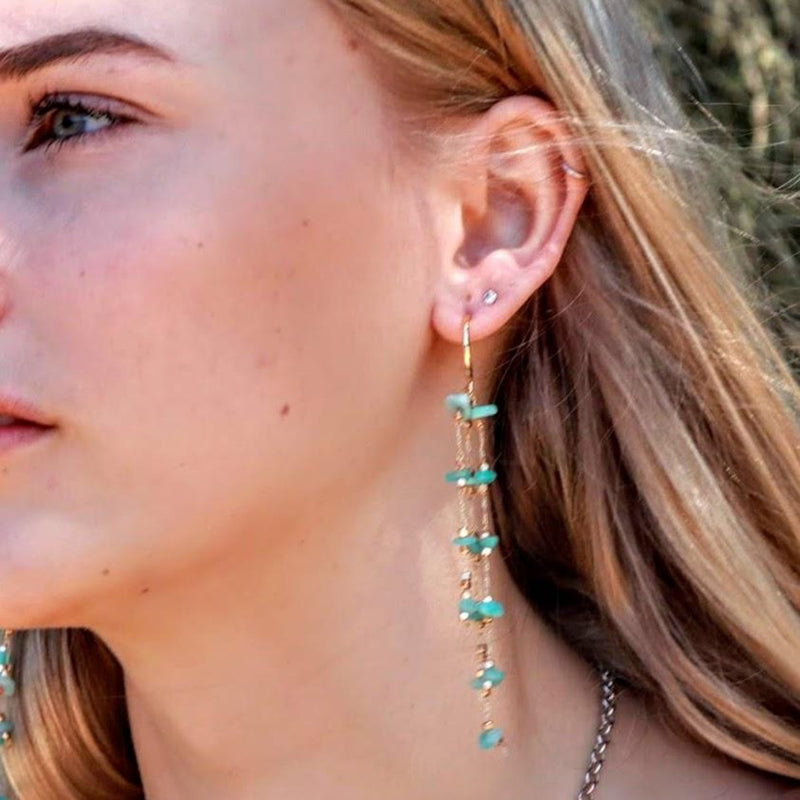 Blue Amazonite Gemstone drop earrings