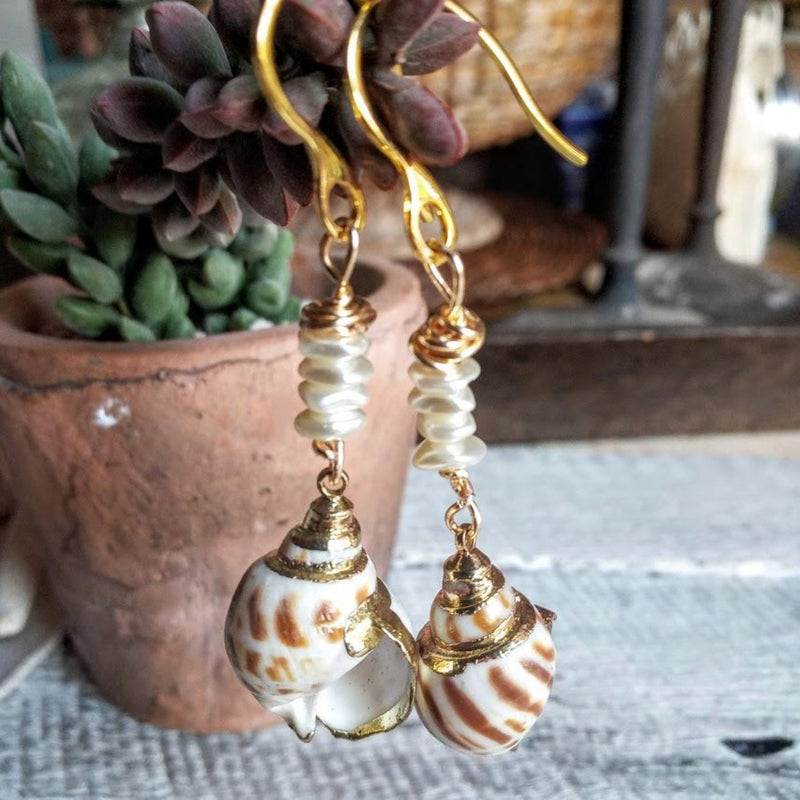 Bonnie Shell Pearl Stack Earrings