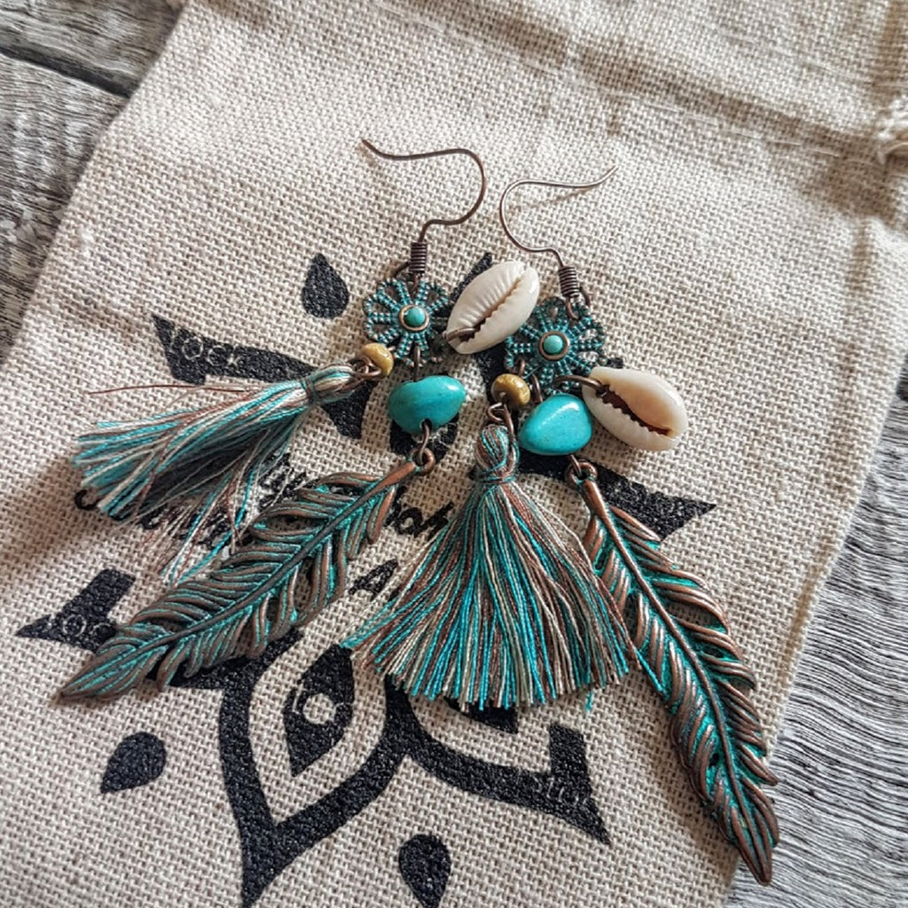 brass tribal shell and turquoise earrings