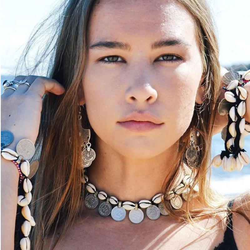 Tribal Cowrie Shell and Silver Coin Choker / Necklace💦