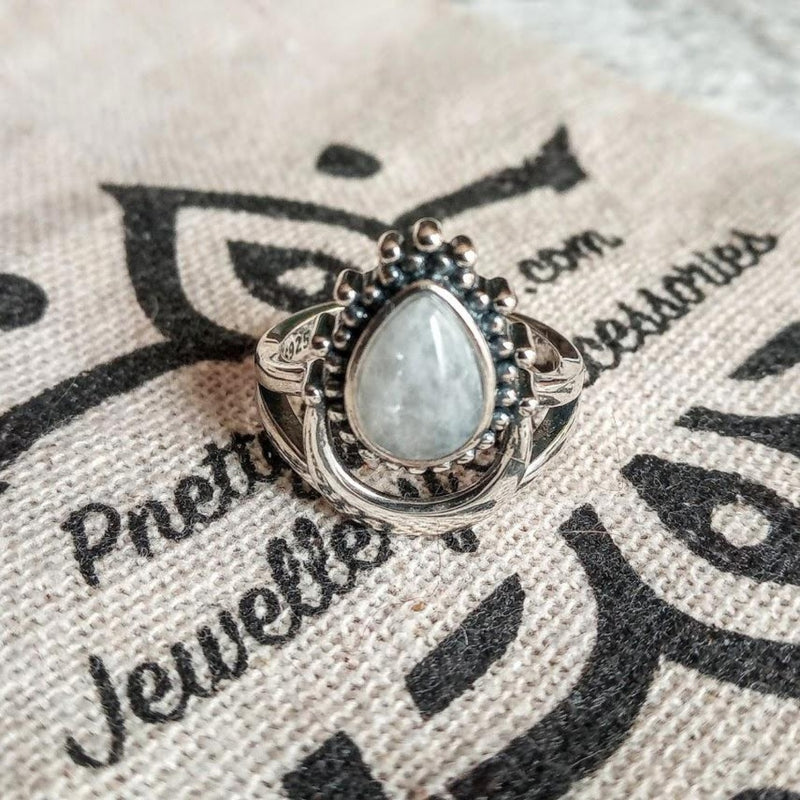 crescent moonstone ring