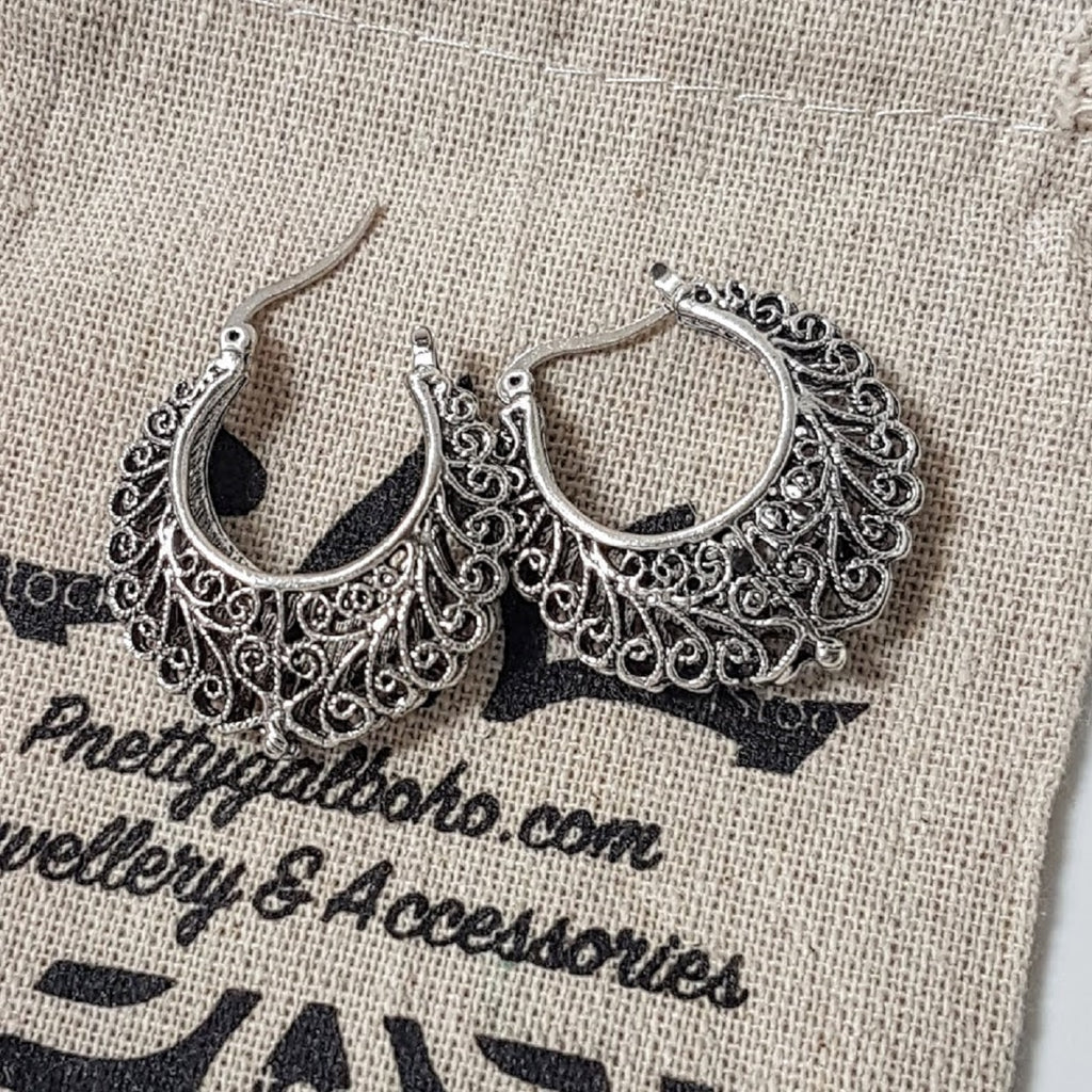Celtic Silver Carved Hook Earrings 💕