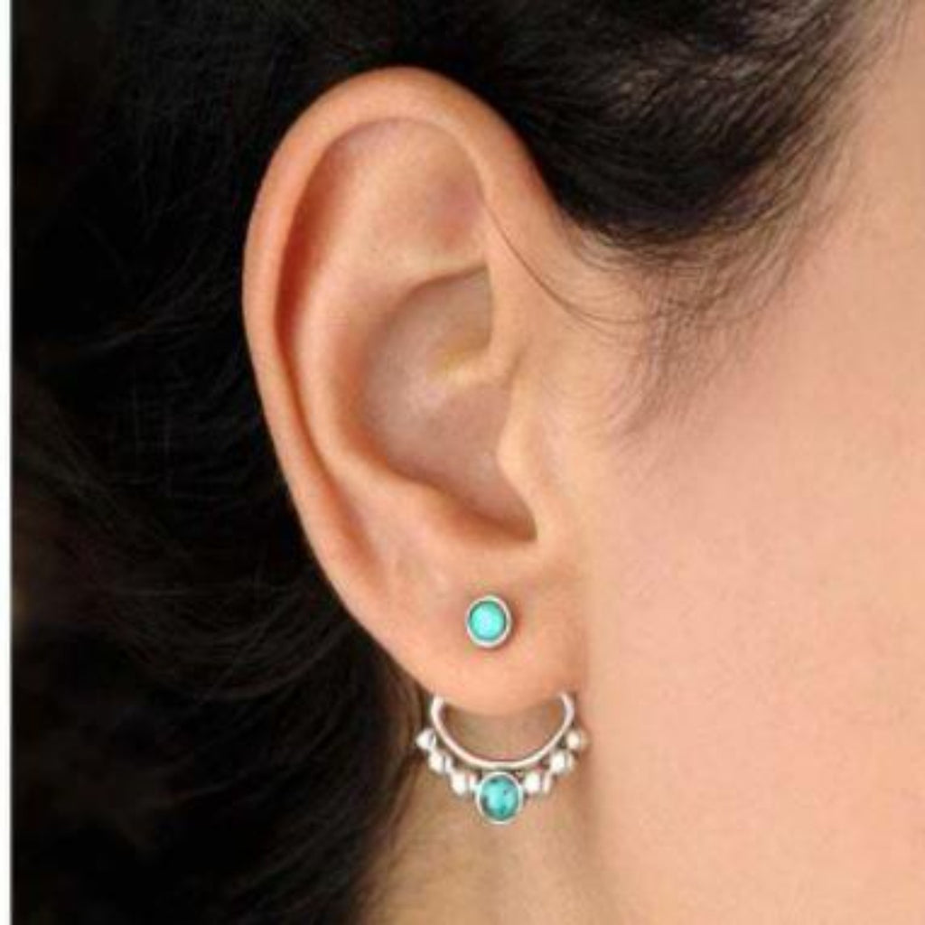 Double Lotus turquoise stud earrings