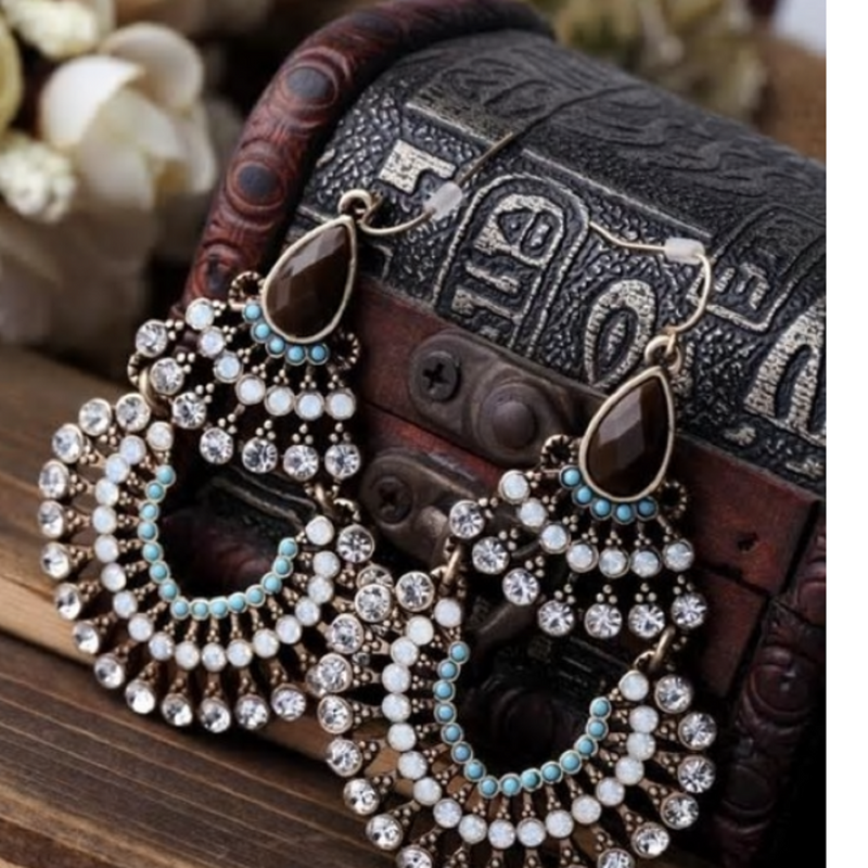 Retro Bohemian Black & Blue Crystal Peacock Earrings