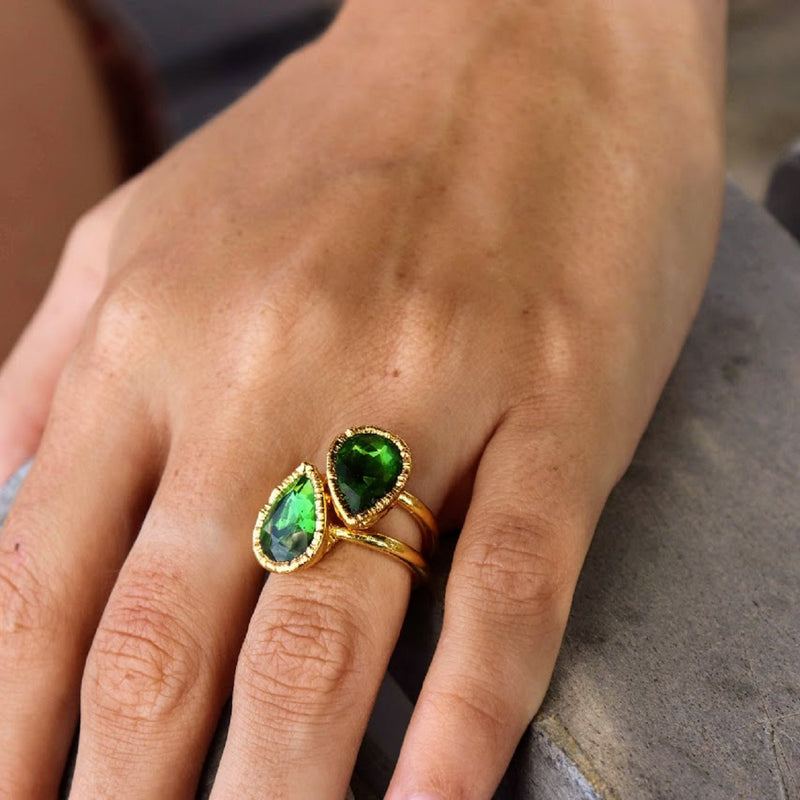 """Emerald Dreams"" Crystal Teardrop Handmade Gold Ring💚"