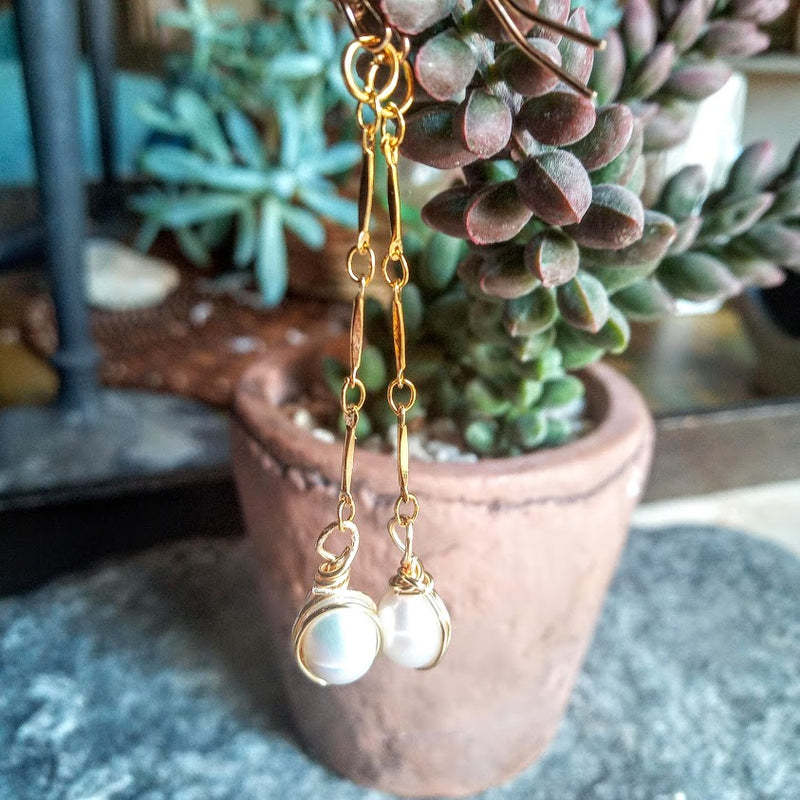 Pearl Drops - Baroque Freshwater Pearl Chain Earrings