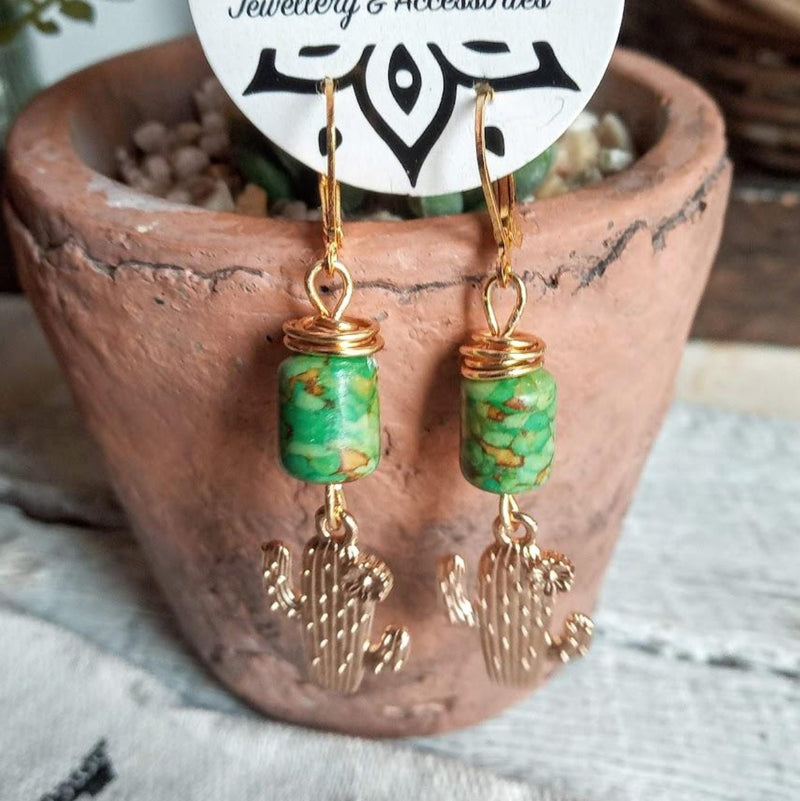 Golden Green Agate Cactus Earrings