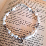Hilltribe charms white shell anklet