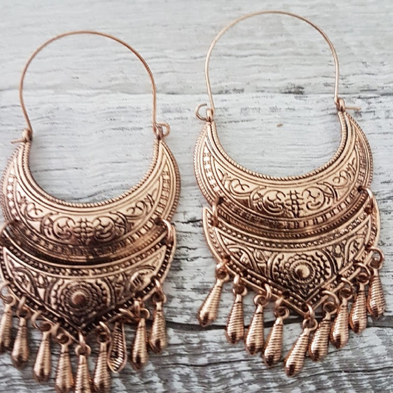 Tribal Brass Tassel Indian Earrings