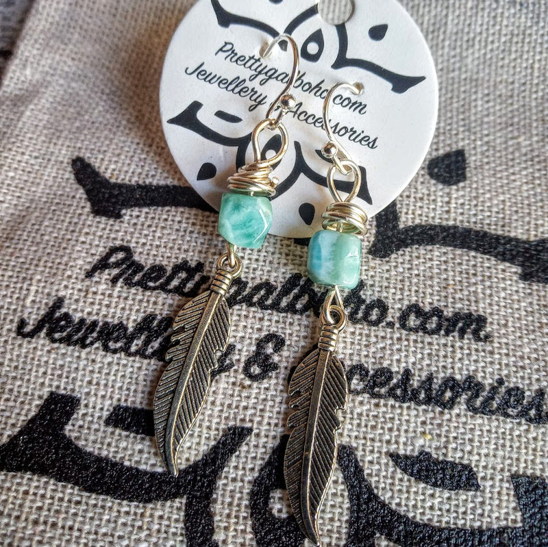 Larimar Feathers - Hook Earrings💙