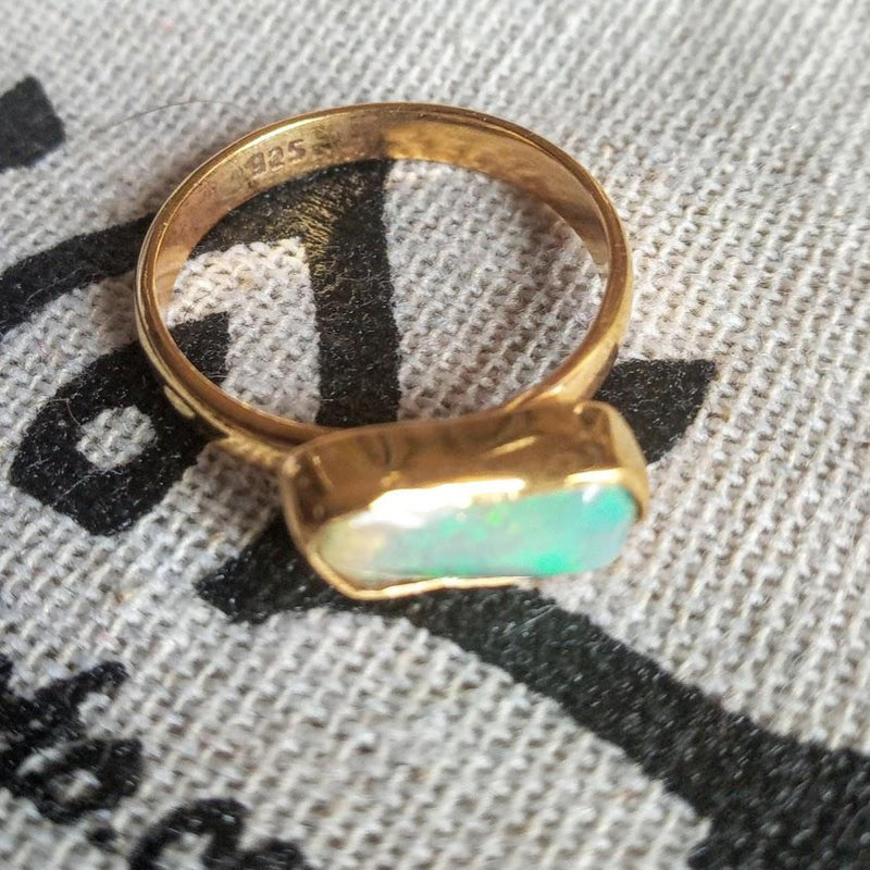 raw gold opal ring