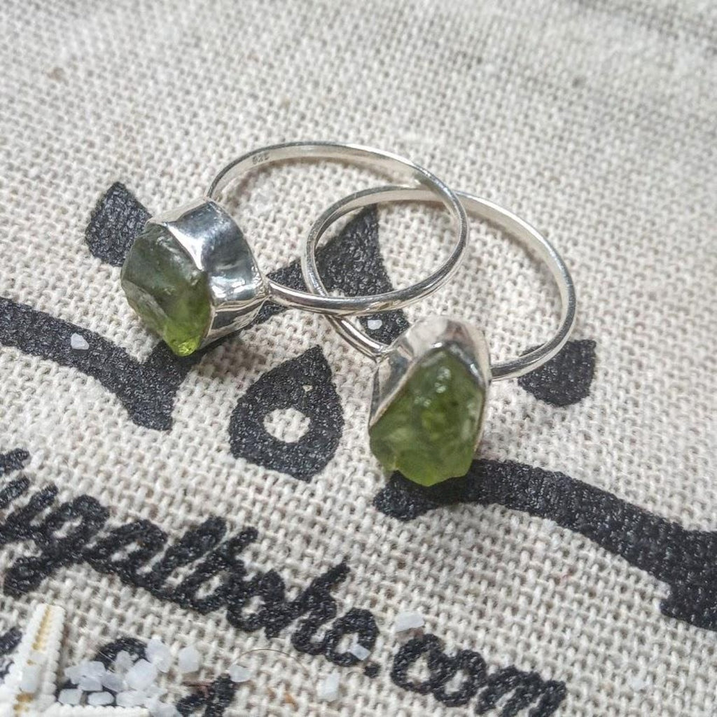 Raw Peridot 925 Silver ring