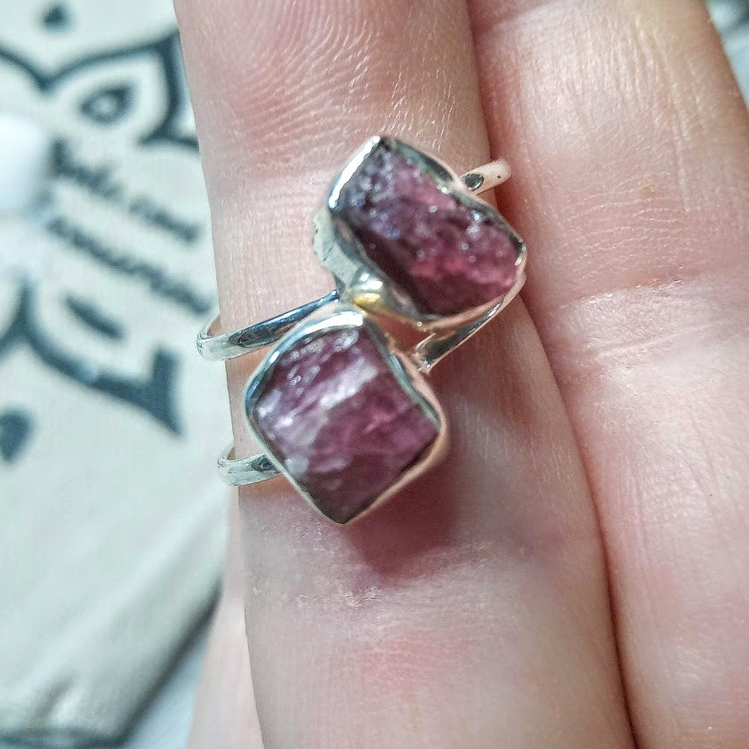 """Rubi Red"" 925 Raw Ruby Silver Ring"