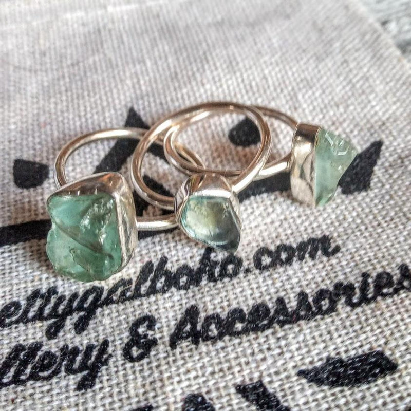 raw aqua marine ring