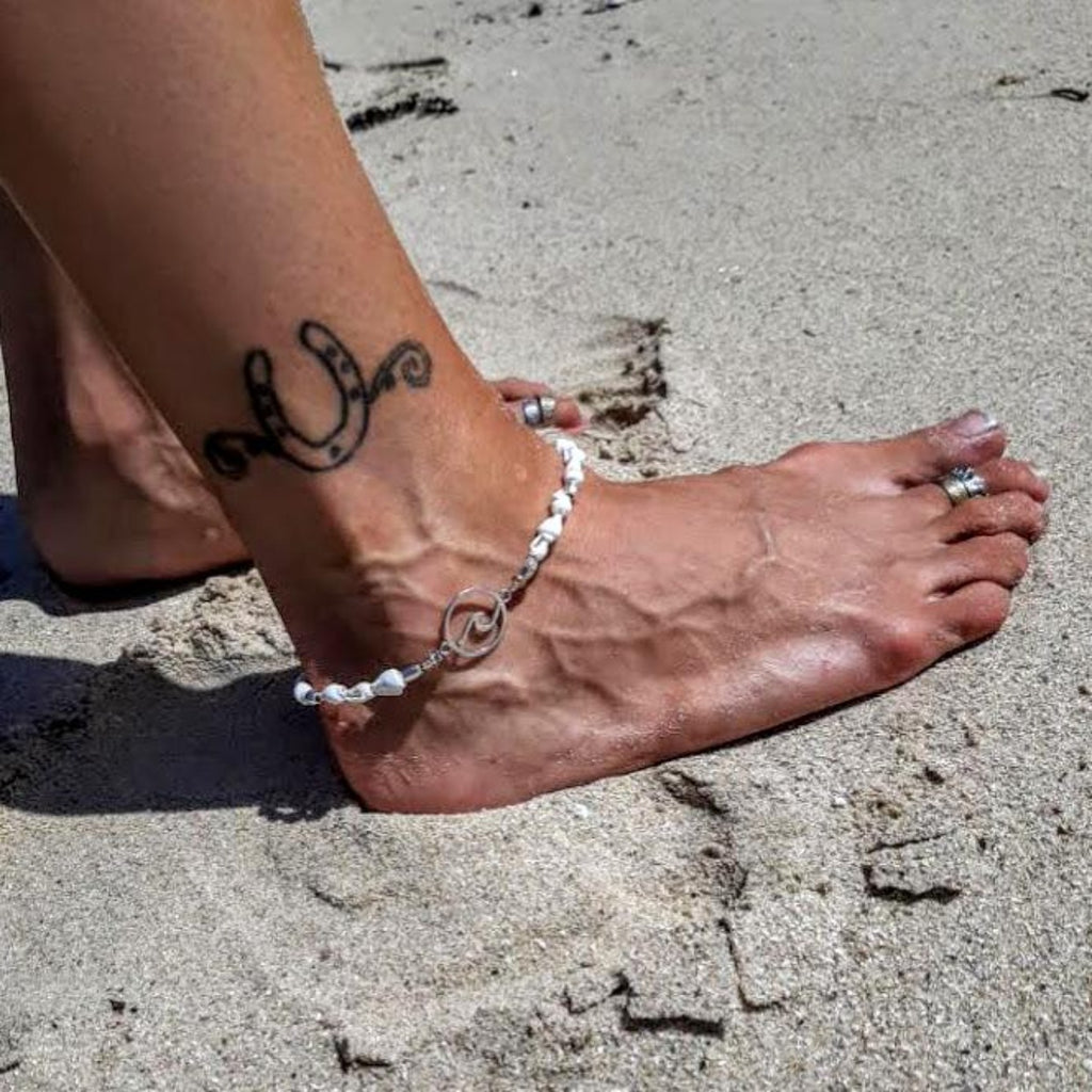 Silver Wave & Shell Anklet