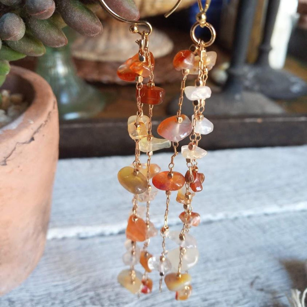 Sun stone and Citrine Gold Drop earrings