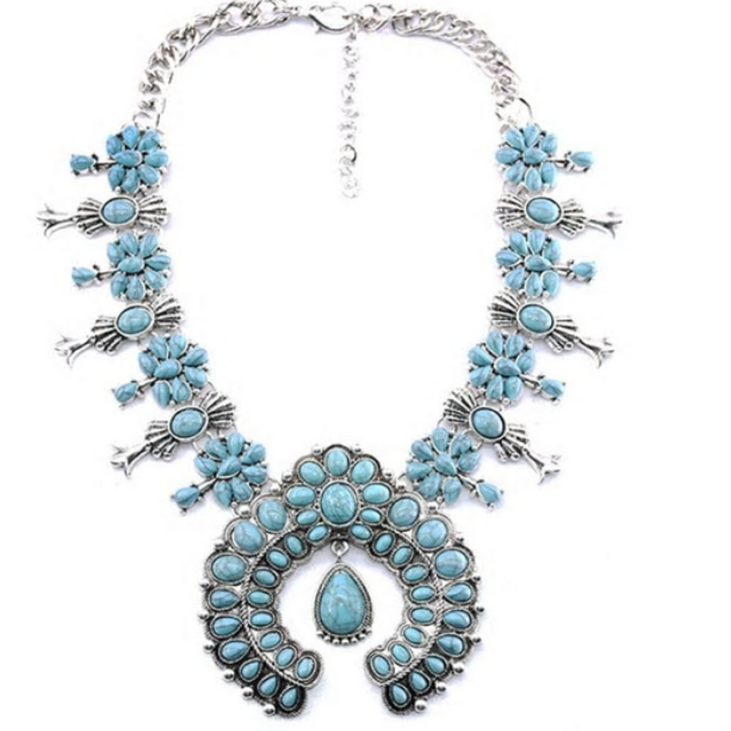 Statement Navajo Blue Turquoise Necklace