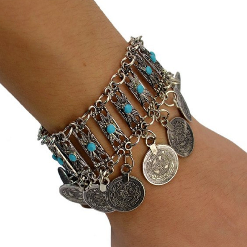 Turkish Turquoise Coin Gypsy Bracelet