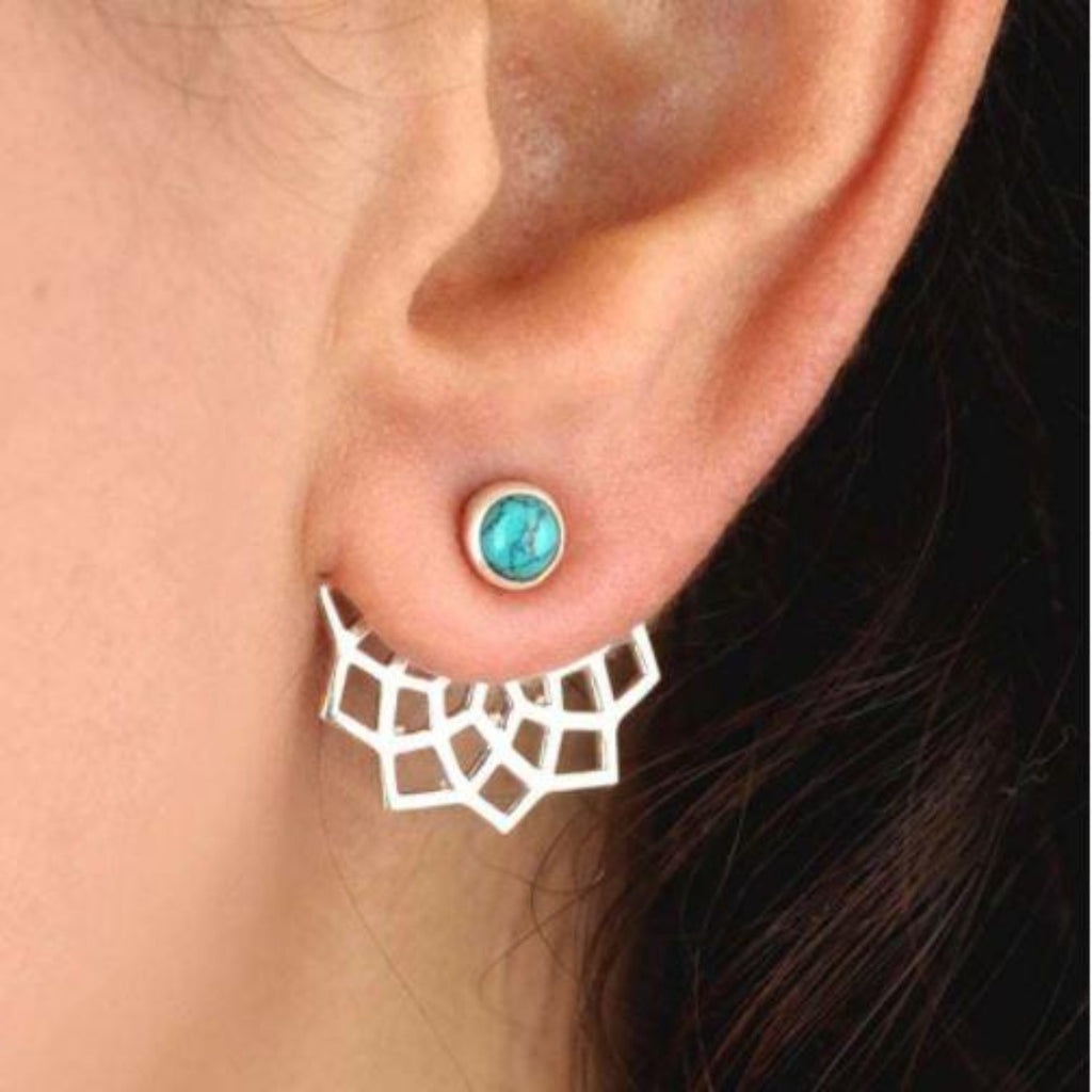 Turquoise Lotus Flower stud Earrings