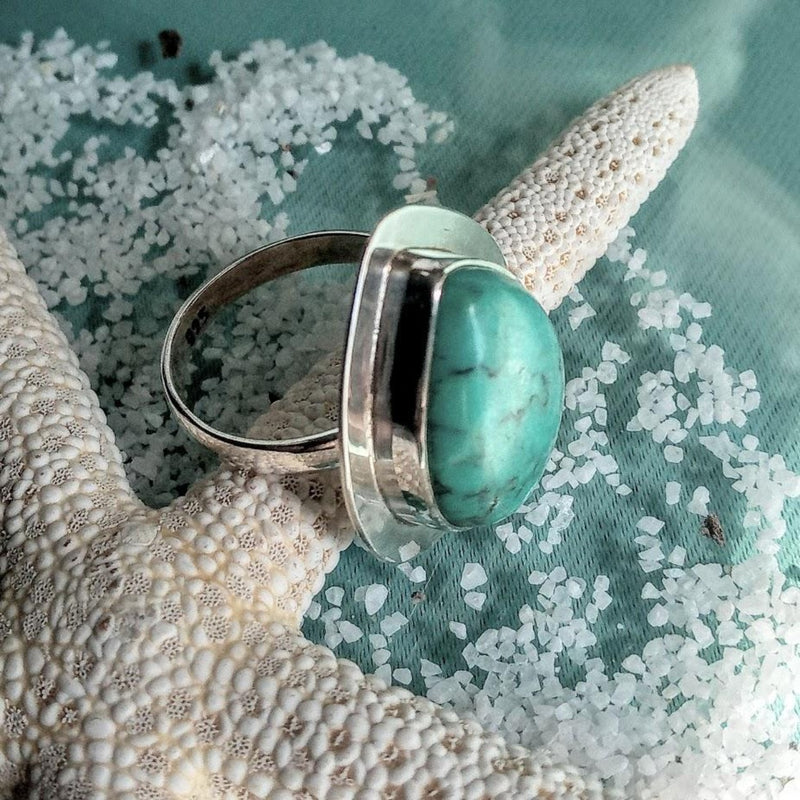 Turquoise Tear Drop 925 Silver Ring