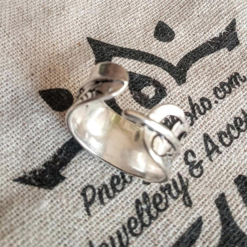 silver leaf adjustable ring