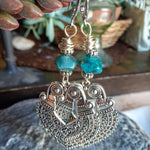 Apatite Large Tribal Silver Wire Hook Earrings