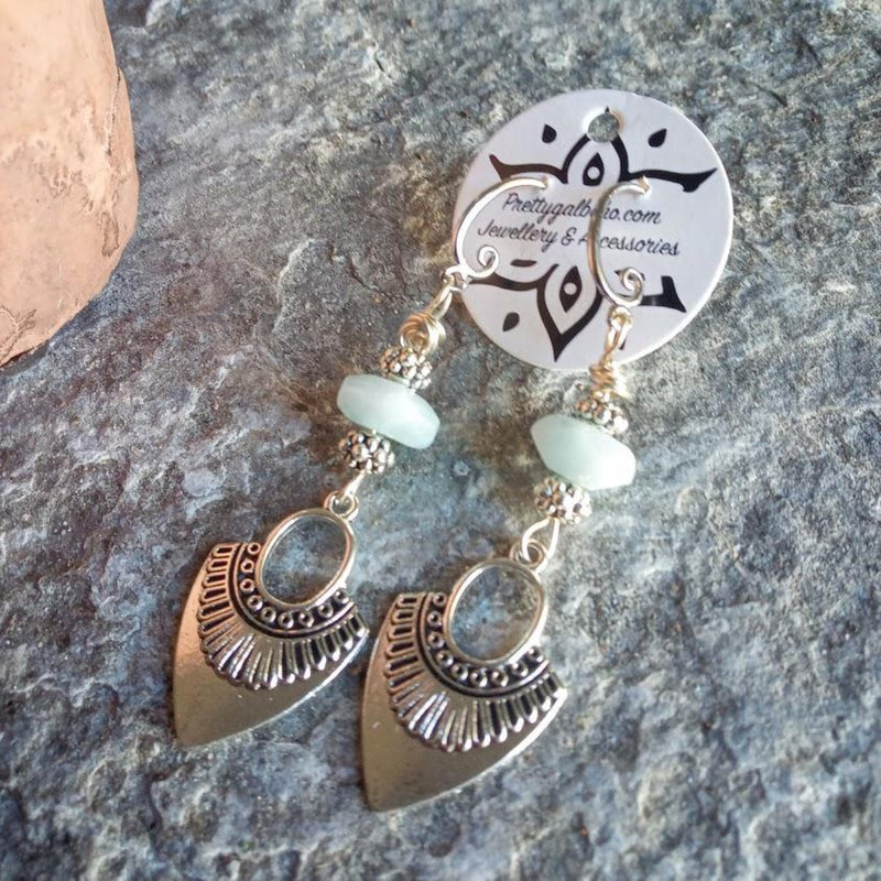 aquamarine tribal hook earrings