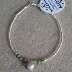 African Jade with Tribal Hill Pure Silver Charms