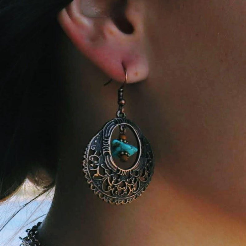 Tribal Boho Brass / Turquoise Stone Hook Earrings