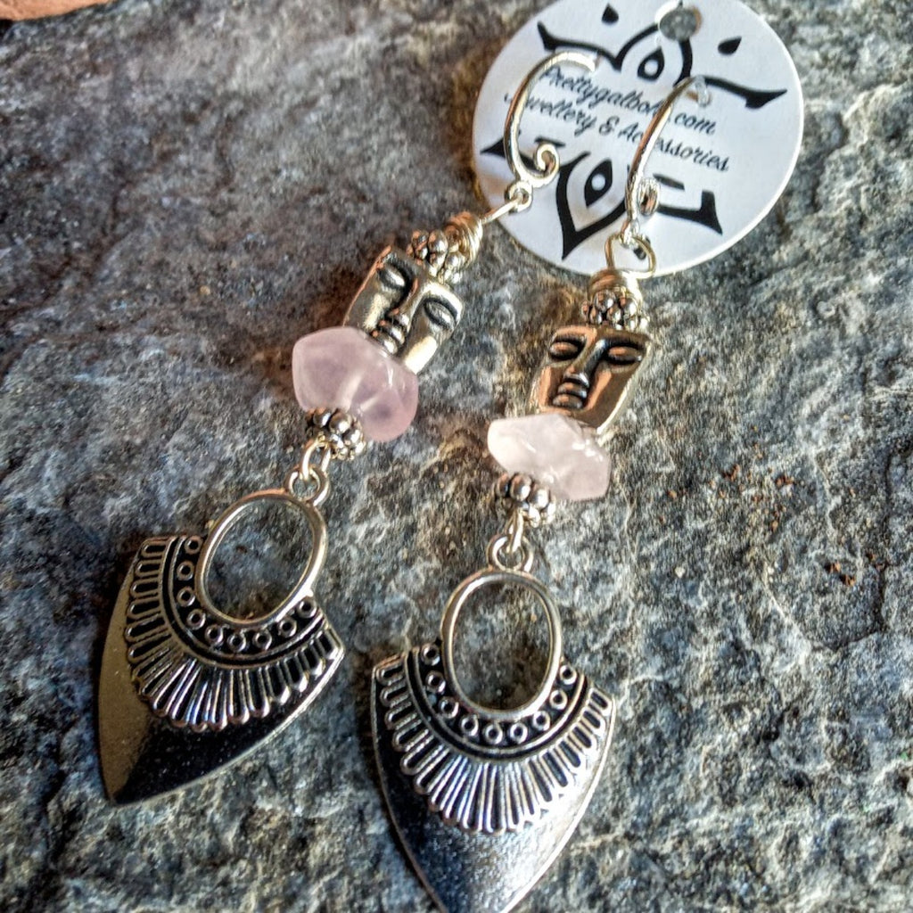 Rose Quartz Tribal Totem Silver Earrings