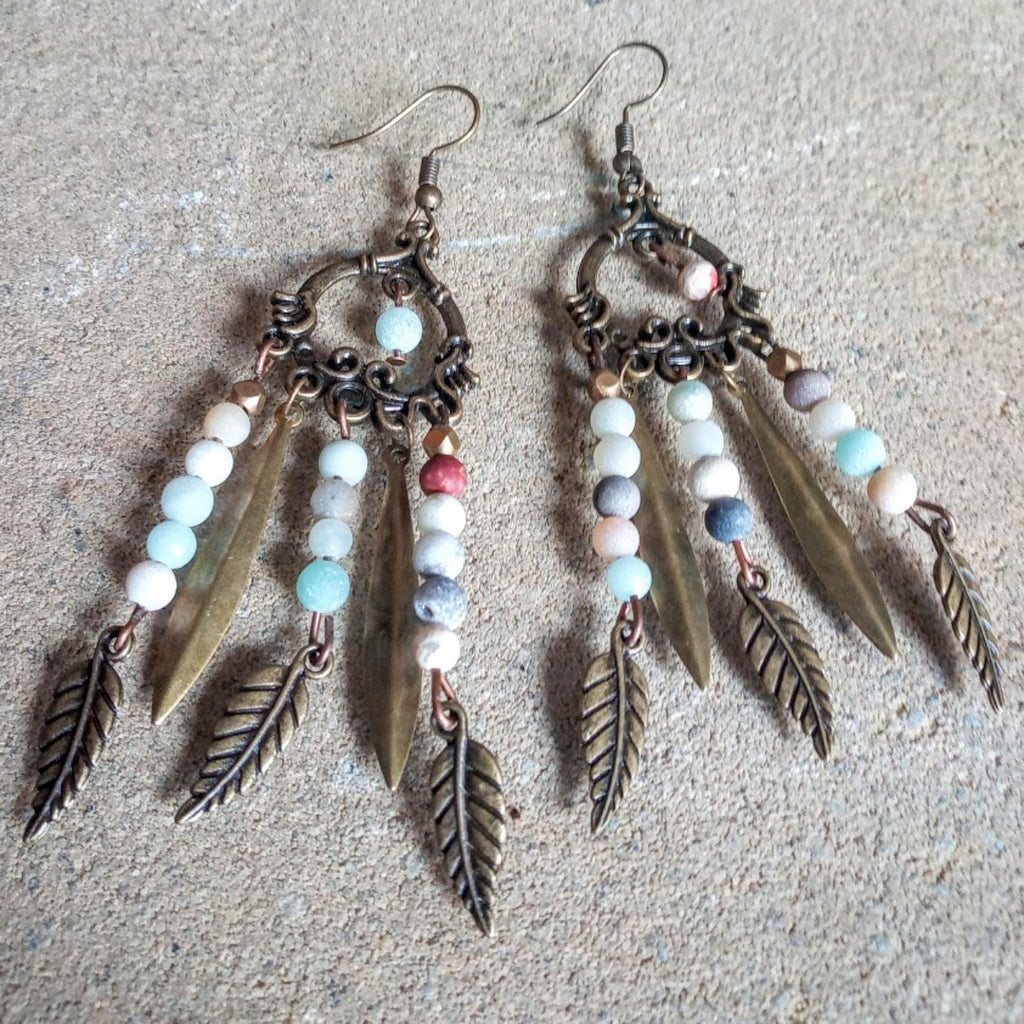 Navajo Amazonite Brass Feather Earrings