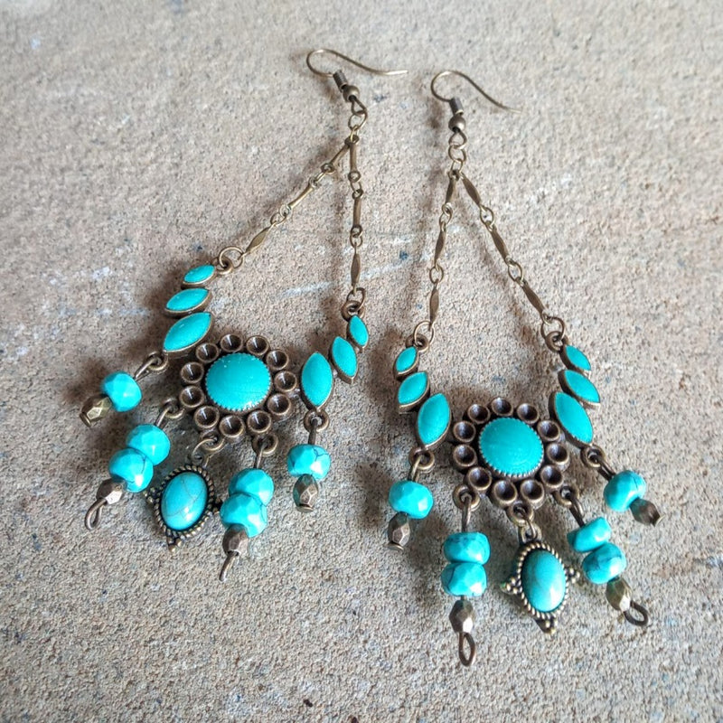 Brass Turquoise Stone & Chain Hook Earrings
