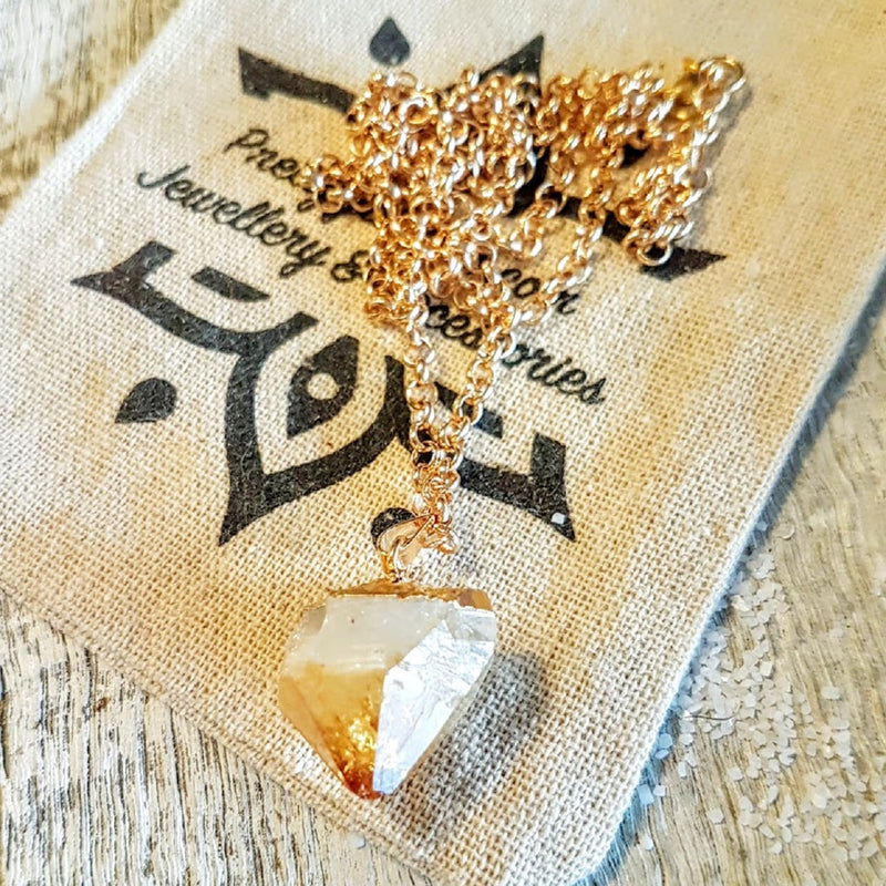 citrine rose gold necklace