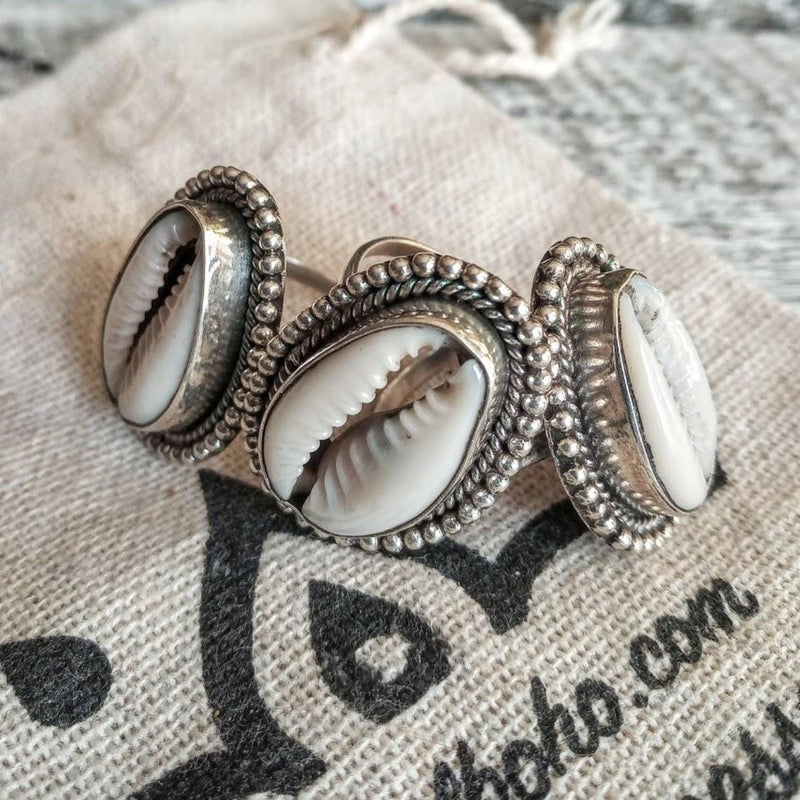 cowrie shell silver ring