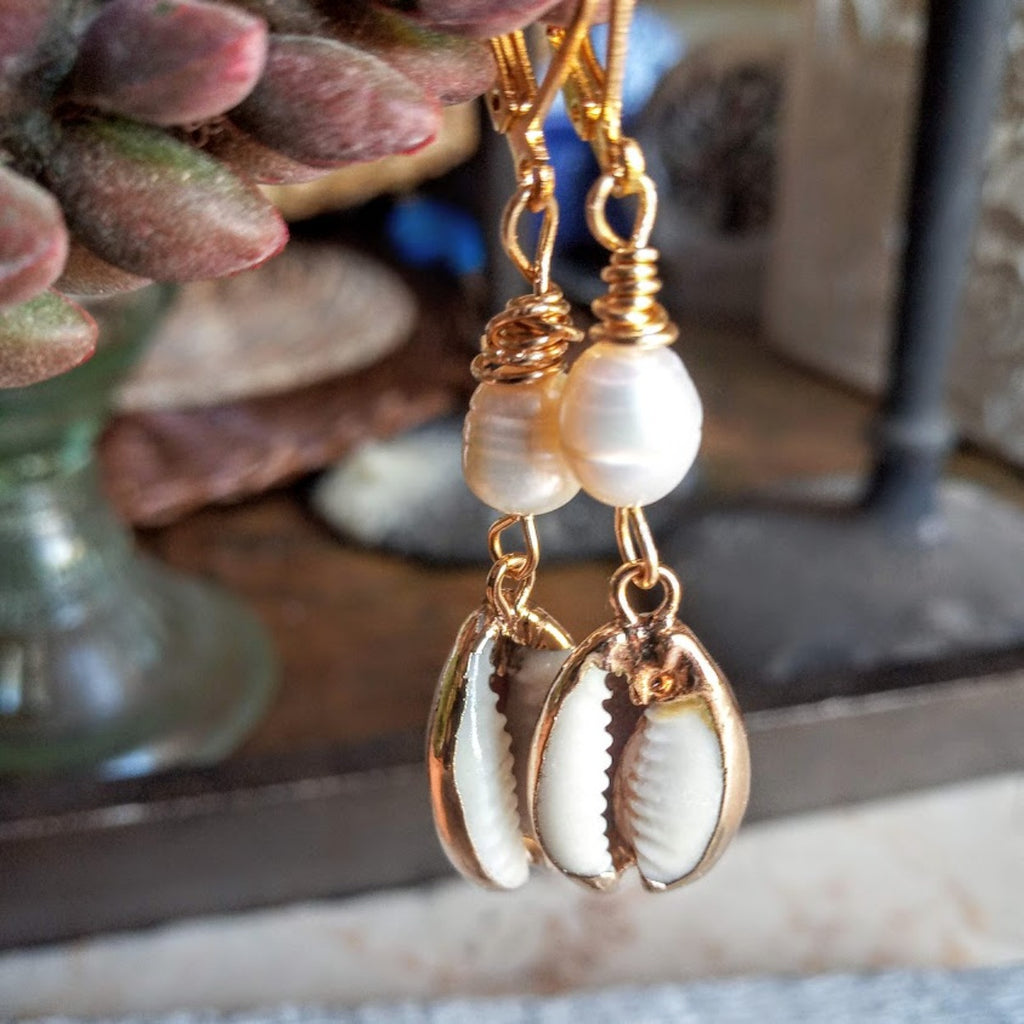 cowrie and pearl hook earrings