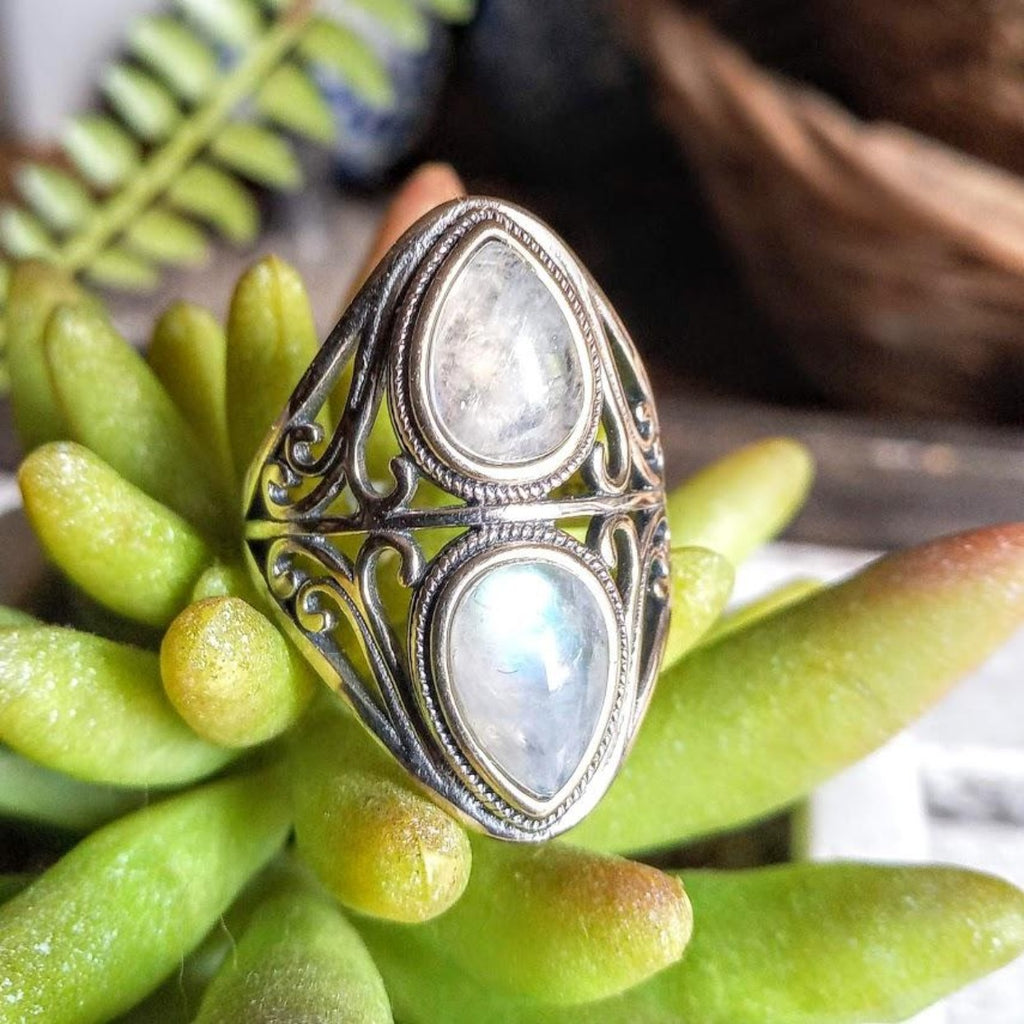 double moonstone ring