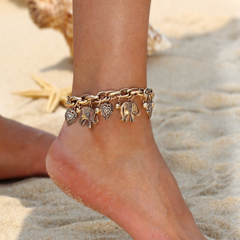 Gold Tribal Elephant Anklet