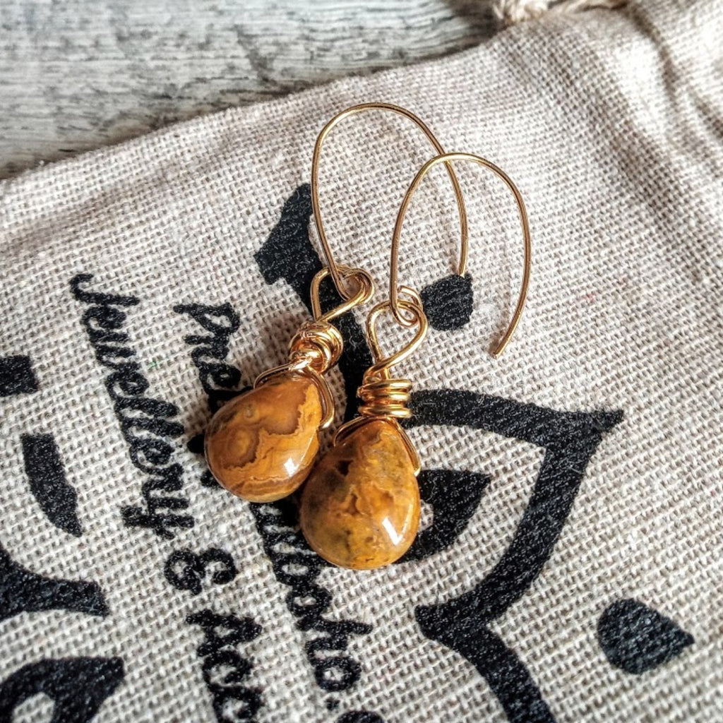 golden agate french hook earrings