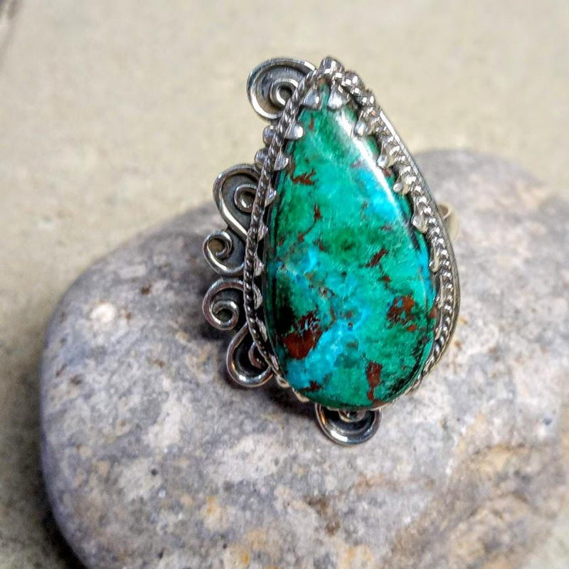 Large 925 Silver Turquoise Statement Ring