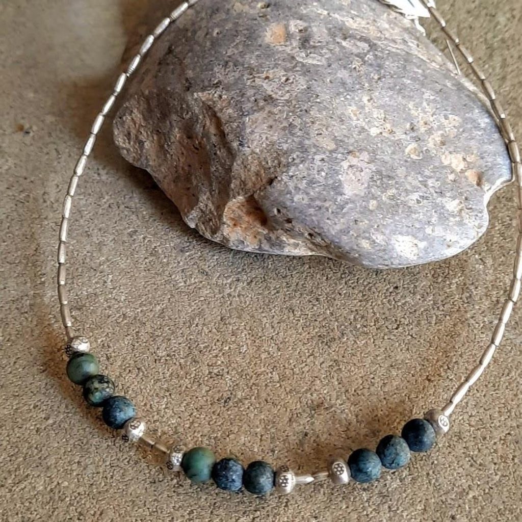 Nine Natural Stone Hilltribe Anklet