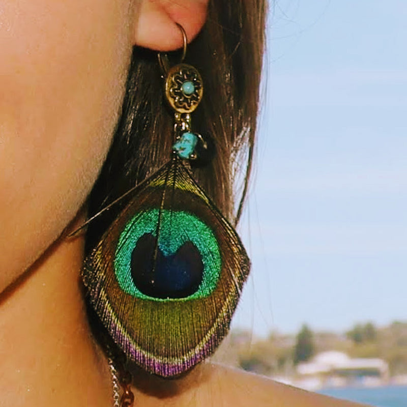 Peacock Feather / Turquoise Stone Earring