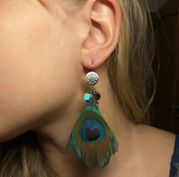 Peacock Blue - Turquoise Stone Earring