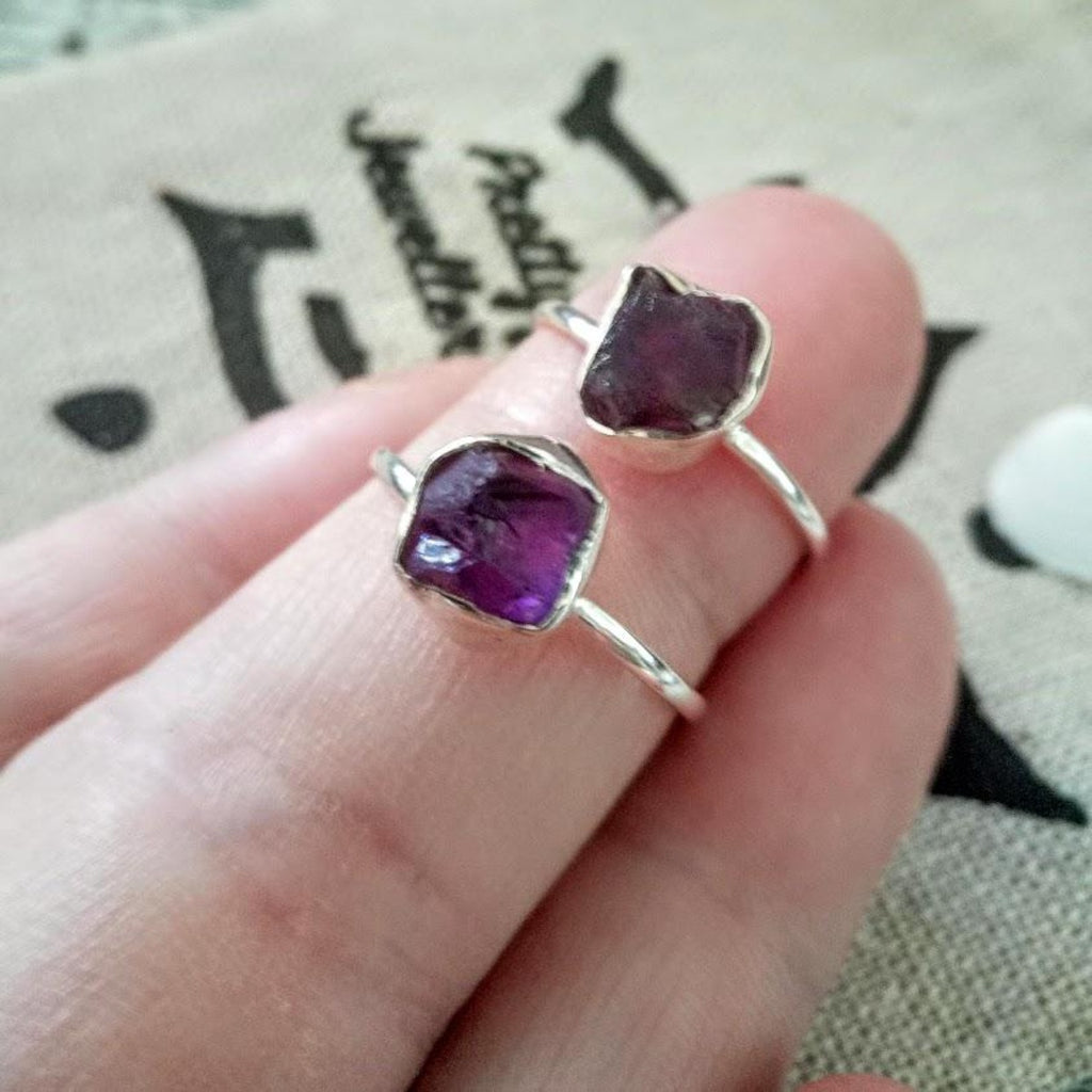 Raw amethyst 925 silver ring